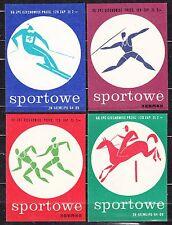 POLAND 1966 Matchbox Label - Cat.G#136/39 set - Matches Sports.