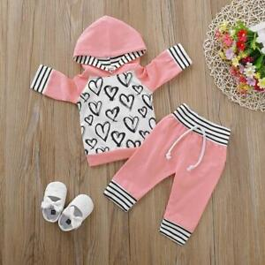 NEW Size 0-3 months Girls Baby Clothes 2 PCE Heart Pink Hoodie and Pant Set