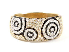 14k Yellow Gold Round Diamond Wide Band Right Hand Ring 2.24ct 7.4g