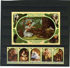 St.Thomas & Prince îles 1981 CHIENS/TABLEAUX Bande de 5 timbres & S/S perf.mnh