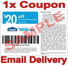 1× Lowes $20 OFF $100 FAST DELIVERY DISCOUNT-1COUPON INSTORE ONLY 𝐄𝐗𝐏 𝟕/𝟏𝟓