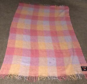 "Large Scotland Mohair Wool blanket Throw Pink Purple Block 48""x72"""