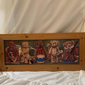 The Teddy Bear Musicians Print artist H.R Sanders  Kids Bedroom Wall Art
