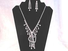 Silver Plated Rhinestone Bridal Stylised Heart Adjustable Necklace Earrings Set