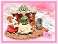 ❤️Wee Forest Folk M-191 Christmas Eve Mouse Fireplace Frog Clock RETIRED WFF❤️