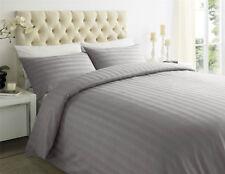 Tc400 Stripe 100 Egyptian Cotton Duvet Cover & Pillow Case Bedding Set All Size Slate Grey Super King
