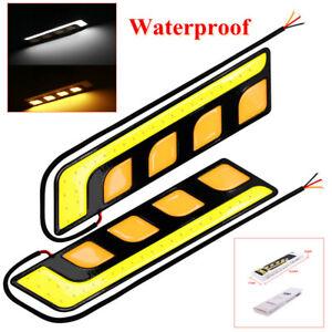 COB LED Car DRL Lamp Turn Signal Light Blade's Daytime Running Light Waterproof