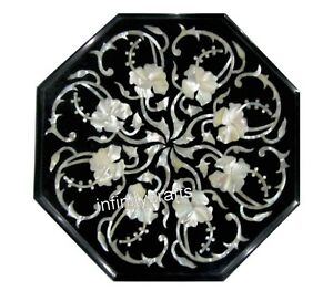 13 Inches Black Octagon Marble Coffee Table Top Mosaic art End table for Home