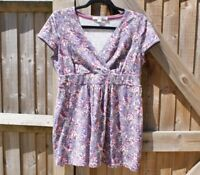Boden Lavender Floral Stretch Jersey Tunic Top Size 12 Petite VGC