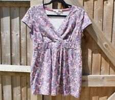 Boden Lavender Floral Stretch Jersey Tunic Top - Size 12 Petite - VGC