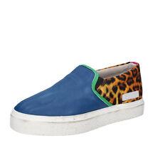 scarpe donna D.A.T.E. (date) 37 mocassini slip on blu pelle tessuto AB540-B