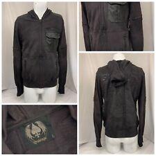Salvage Hoodie Sweatshirt L Black Full Zip Pockets 100% Cotton NWT YGI R9-424CG