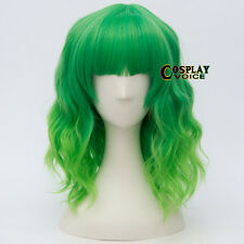Fringe Bangs Mix Light Green Curly  Party Women Anime Heat Resistant Cosplay Wig