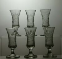 HAND CUT LEAD CRYSTAL SMALL SHOT GLASSES SET OF 6