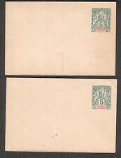 French colonies Madagascar et Dependances two 5c postal stamped envelopes