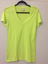 Victorias Secret Pink Ladies M V Neck Flourescant Green T Shirt