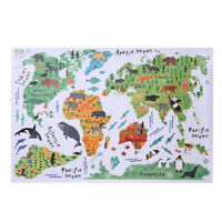 Removable Animal World Map Wall Stickers Home Bedroom Background Wall Decor