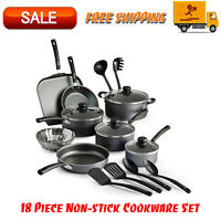 Primaware 18 Piece Non-stick Cookware Set, Kitchen Home, Pots & Pans Set, Gray