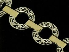 B083 Genuine 9ct SOLID White & Yellow GOLD Two-Tone Filigree Bracelet 18cm