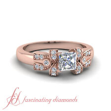 1/2 Carat Princess Cut Diamond Round Accented Engagement Ring In 18K Rose Gold