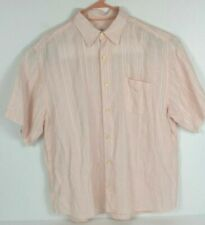 Tommy Bahama Mens Size Large 100% Linen Pink Short Sleeve Button Front Shirt