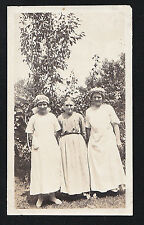 Antique Photograph Three Older Women Wearing Cool Outfits & Caps