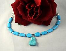 Charm Bracelet Cat Resuce Artisan Faux Turquoise Beads Cat