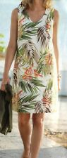 J Jill 4x Tropical Print Beige Multi Linen Pockets V Neck Tank Dress