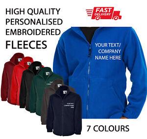Custom Personalised Fleece Jacket Work Wear Embroidered Company TEXT Warehouse