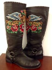 """RARE HTF ISABELLA FIORE FAITH-LOVE-HOPE LEATHER RIDING """"ISIS"""" BOOTS-$700-11(10)"""