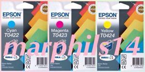 EPSON T0422, T0423, T0424 Genuine Ink Cartridges for Stylus C82 CX5200 CX5400