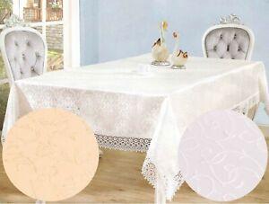 Damask White Jacquard Vinyl Tablecloths Rectangle Tableware Dining, 150 x 220 cm
