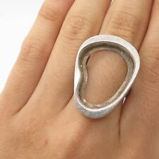 Vtg 925 Sterling Silver Modernist Large Ring Size 6.5