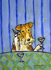 Fox Terrier - 11x14 print - martini art - dog art - modern folk art martin bar