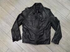 TOMMY HILFIGER moto black LEATHER jacket MEDIUM lined 42