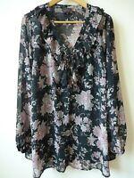 New Womens Ex Evans Black Floral Ruffle Trim Chiffon Top Blouse Plus Size 24