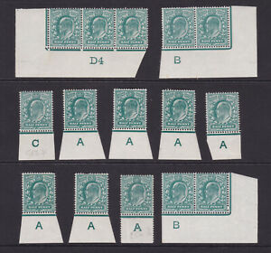 GB. KEVII. 1/2d blue green selection on controls. Unmounted/mounted mint.