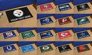"""NFL Team Personalized Starter Mat 19""""x30"""" Your Text Here Steelers Patriots Eagle"""