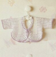 """Baby Crochet Jacket Pattern in 3ply curved edge 18"""" chest   752"""