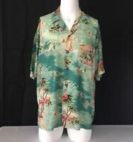 Khaki Safari Mens Large Casual Button Front Camp Shirt M6