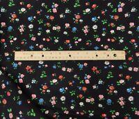 Vintage Schwartz Liebman Calico Fabric Black w/ Red Pink Blue Flowers 3 Yards