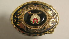 Vintage new old stock Gold & black oval Belt Buckle w/oval SHRINER emblem black