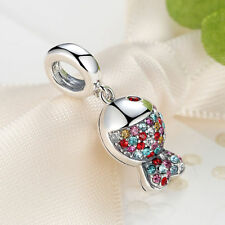 Christmas Sales Cute Fish .925 Sterling Silver Multicolor Crystal Charm Beads