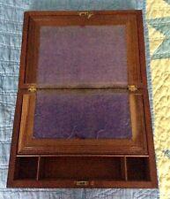 Antique Wood Lap Desk, Purple Felt, Brass Hardware