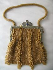 Antique Gold Floral Frame Blue Jewel Clasp Tan Knit Amber Yellow Ice Bead Purse