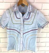 Elevenses Anthropologie Women's Sz 8 Button-Front Blouse Top Embroidered
