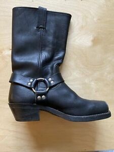 FRYE WMNS 700 HARNESS SZ 9.5 M BLack LEATHER MOTO WORK BOOTS Preowned