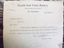 SAINT AUGUSTINE FLORIDA EAST COAST RAILWAY RAILROAD VP SIGNED .1896