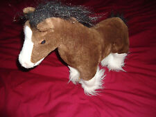 "Plush 15"" Brown, Black & White Horse Seaworld Busch Gardens Clydesdale Pony"