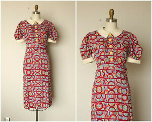 Original Vintage 1930s Cotton Dress Puff Sleeves excellent condition sz small